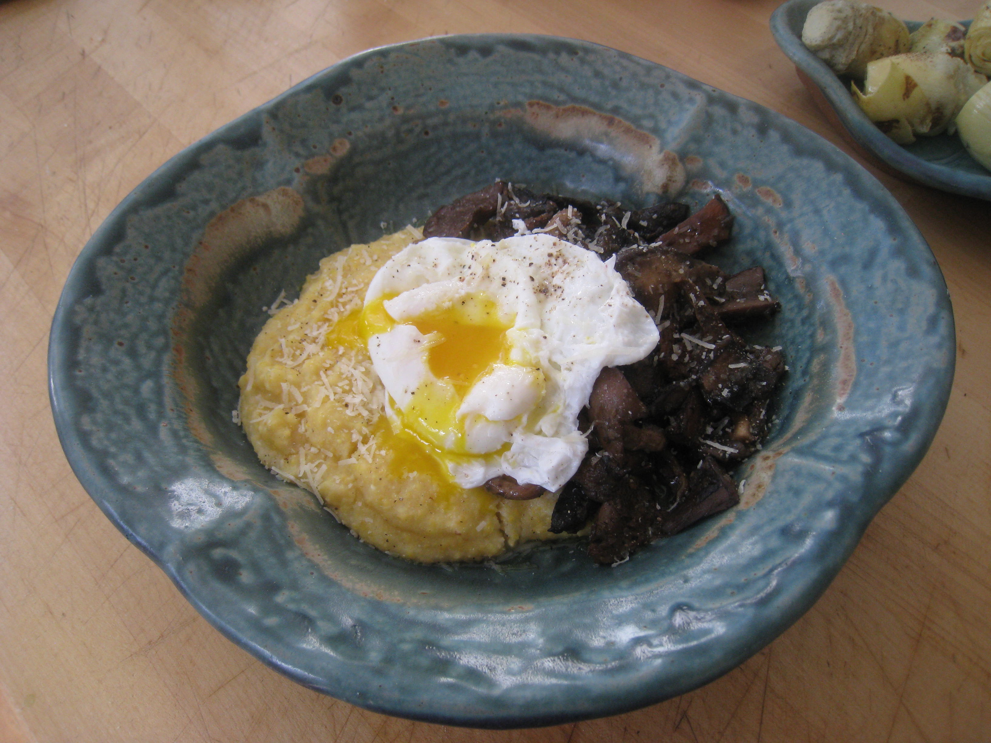 Jody Adams' mushroom fricassee, served with polenta and a poached egg